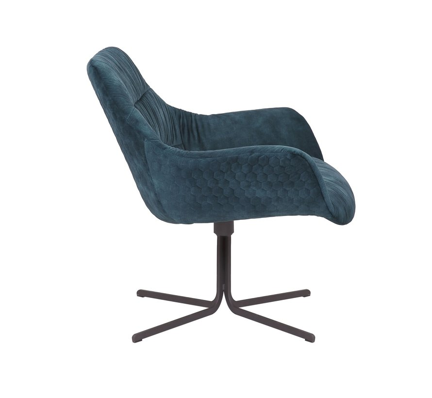 Horeca Velvet fauteuil Lizzy donkerblauw