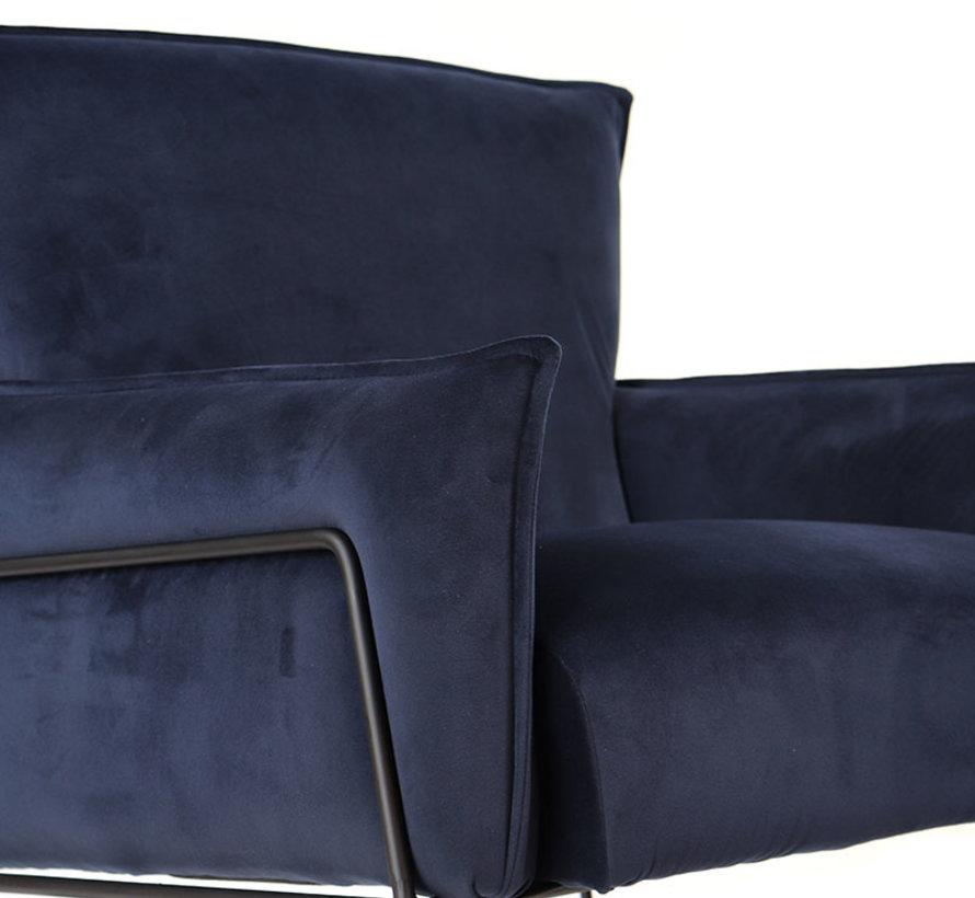 Fauteuil Lasse blauw velvet