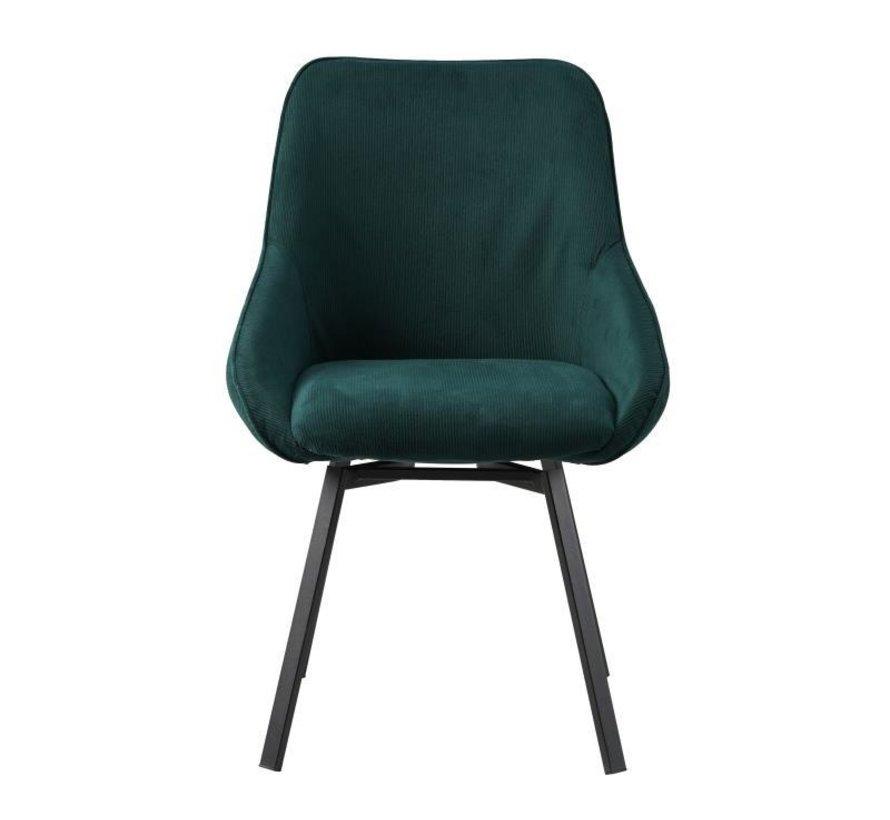 Horeca draaibare stoel Luna ribstof donkergroen