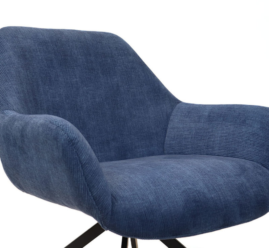 Fauteuil Emily ribstof donkerblauw