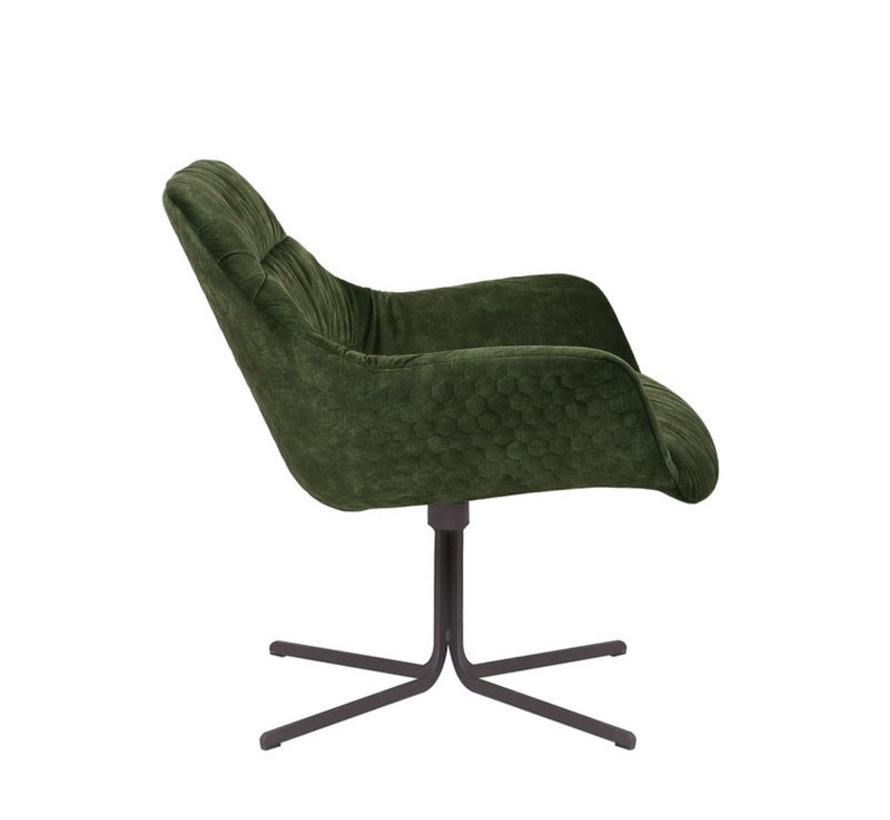 Draaibare fauteuil velvet Lizzy donkergroen