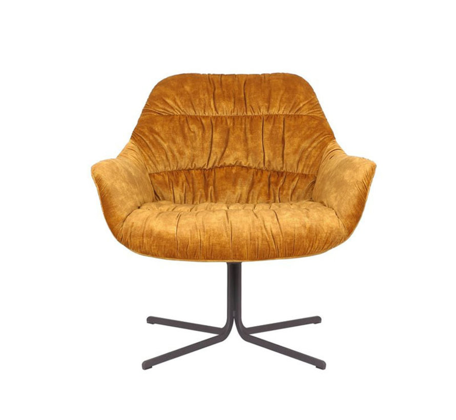 Draaibare fauteuil velvet Lizzy okergeel