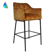 Bronx71 Barkruk Jayron okergeel/cognac bruin velvet 82 cm