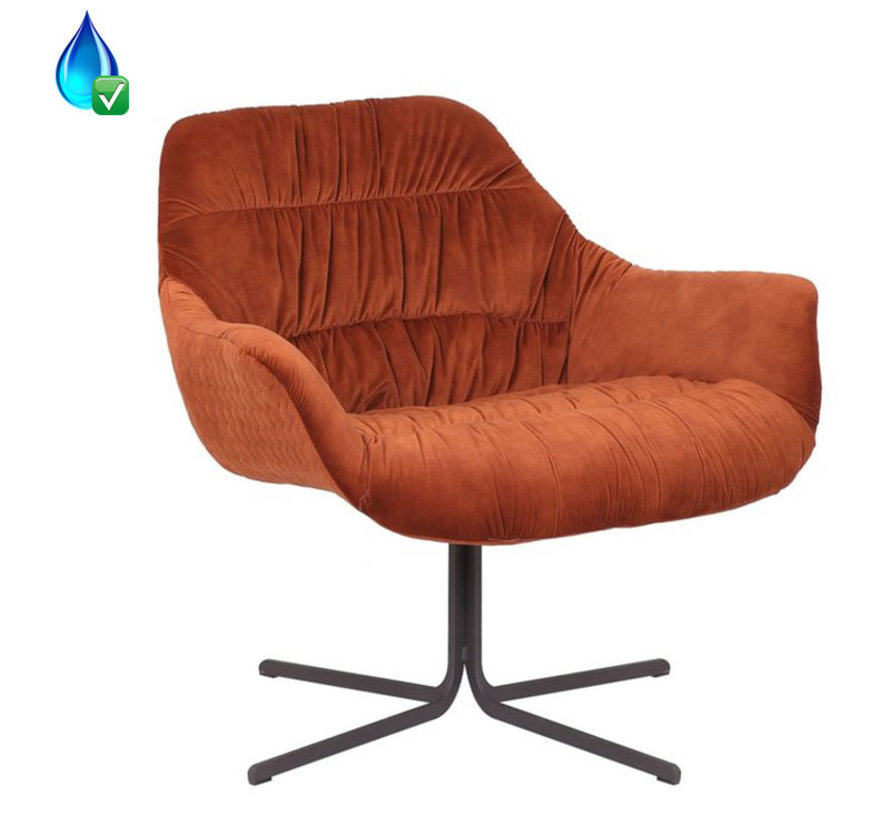 Horeca Velvet fauteuil Lizzy koper