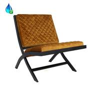 Design fauteuil Madrid velvet oker geel/cognac bruin