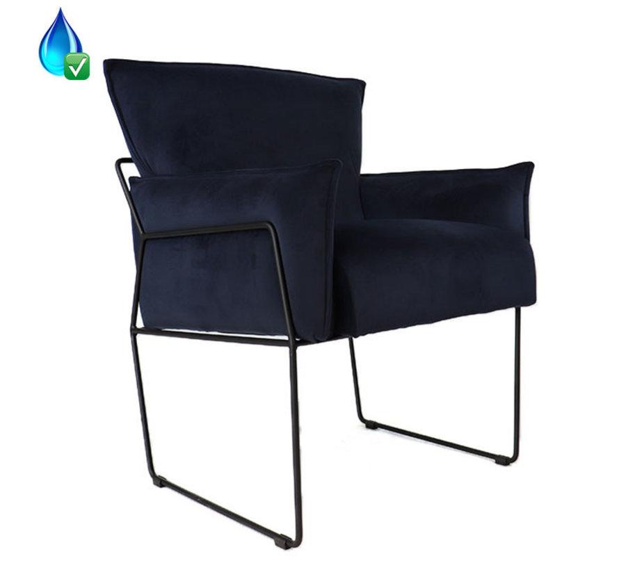 Horeca Velvet fauteuil Lasse blauw
