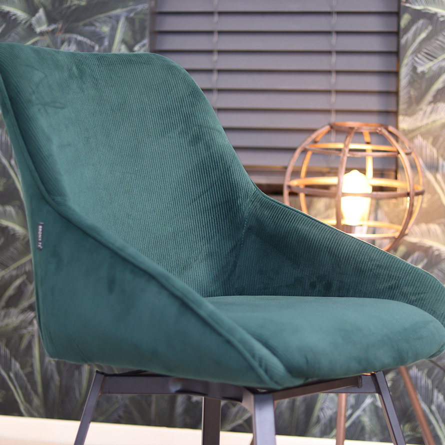Horeca draaibare stoel Luna donkergroen ribstof