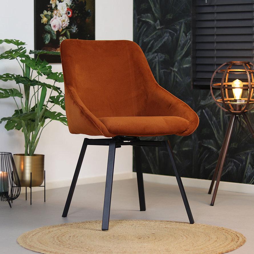 Horeca draaibare stoel Luna koper ribstof