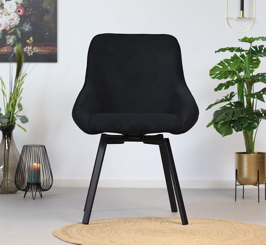 Horeca draaibare stoel Luna ribstof zwart