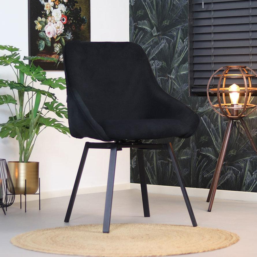 Horeca draaibare stoel Luna zwart ribstof
