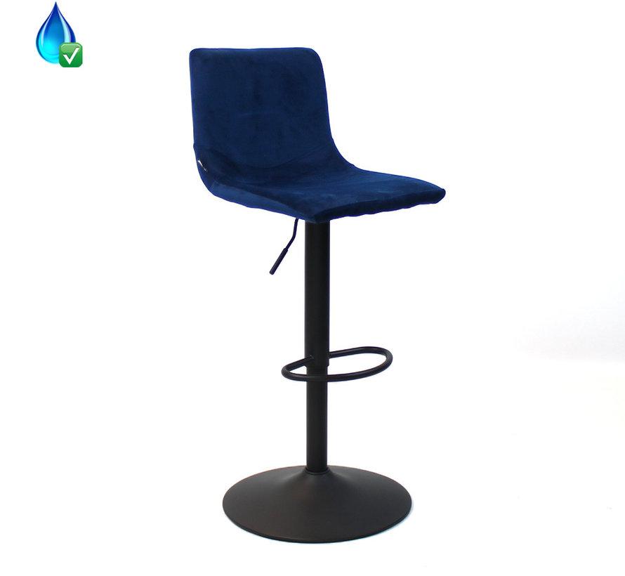 Horeca Barkruk Frenkie blauw velvet 59 - 76 cm