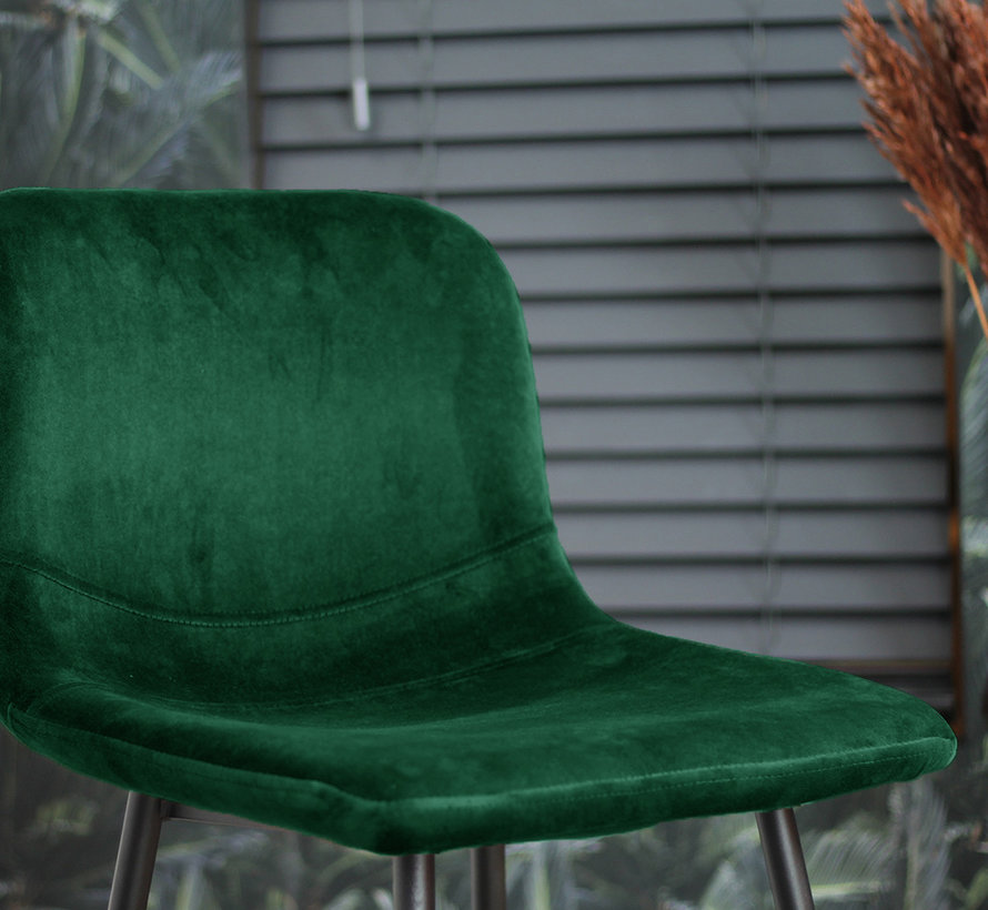 Horeca Barkruk velvet Mikky groen 68 - 79 cm