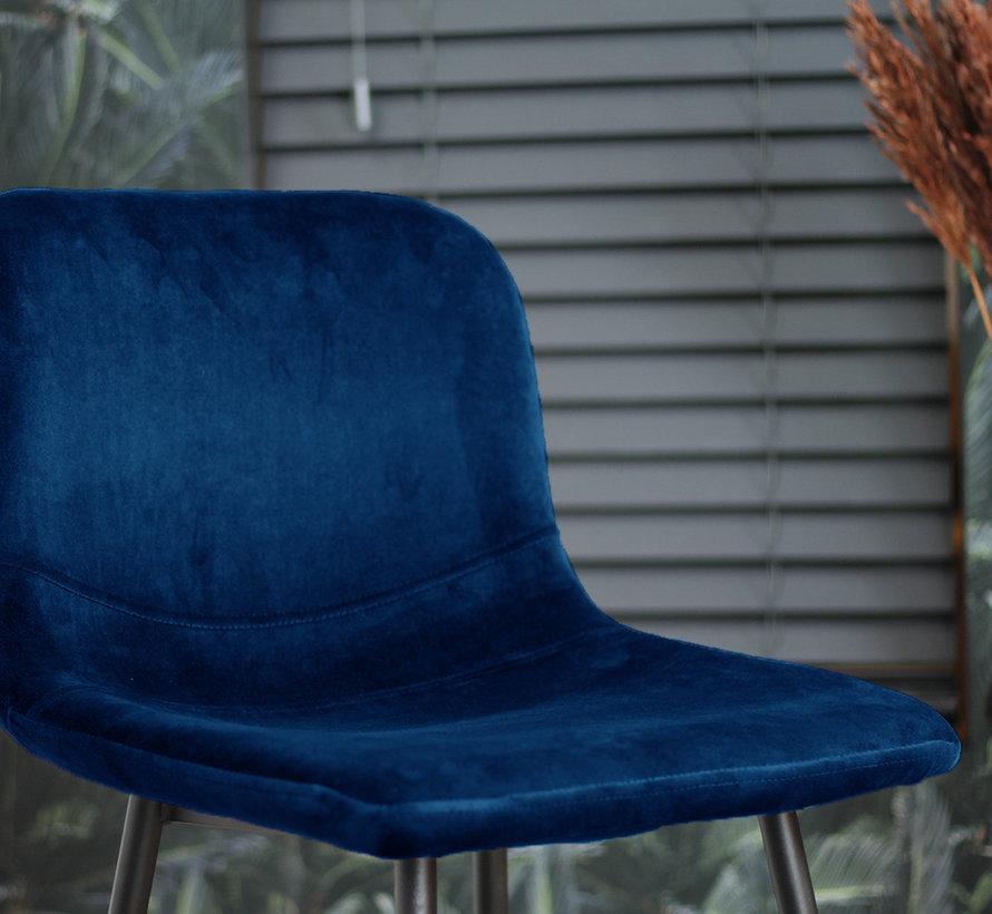Horeca barkruk Mikky blauw velvet 68 - 79 cm