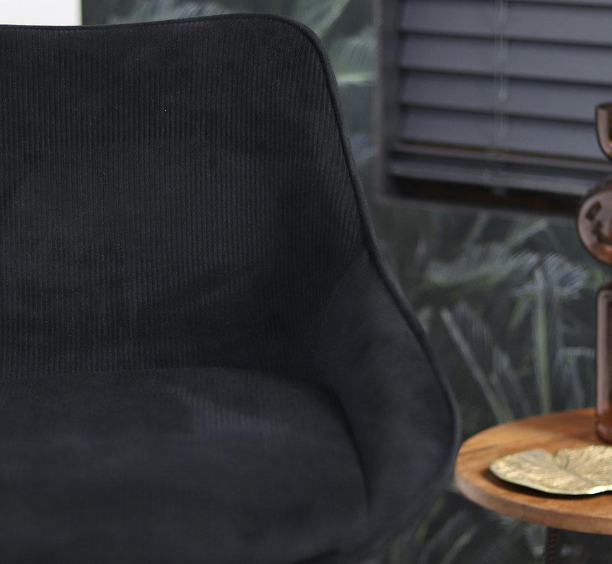Horeca barkruk draaibaar Luna ribstof zwart 70 cm