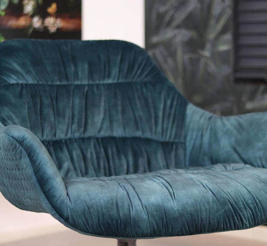 Draaibare fauteuil velvet Lizzy donkerblauw