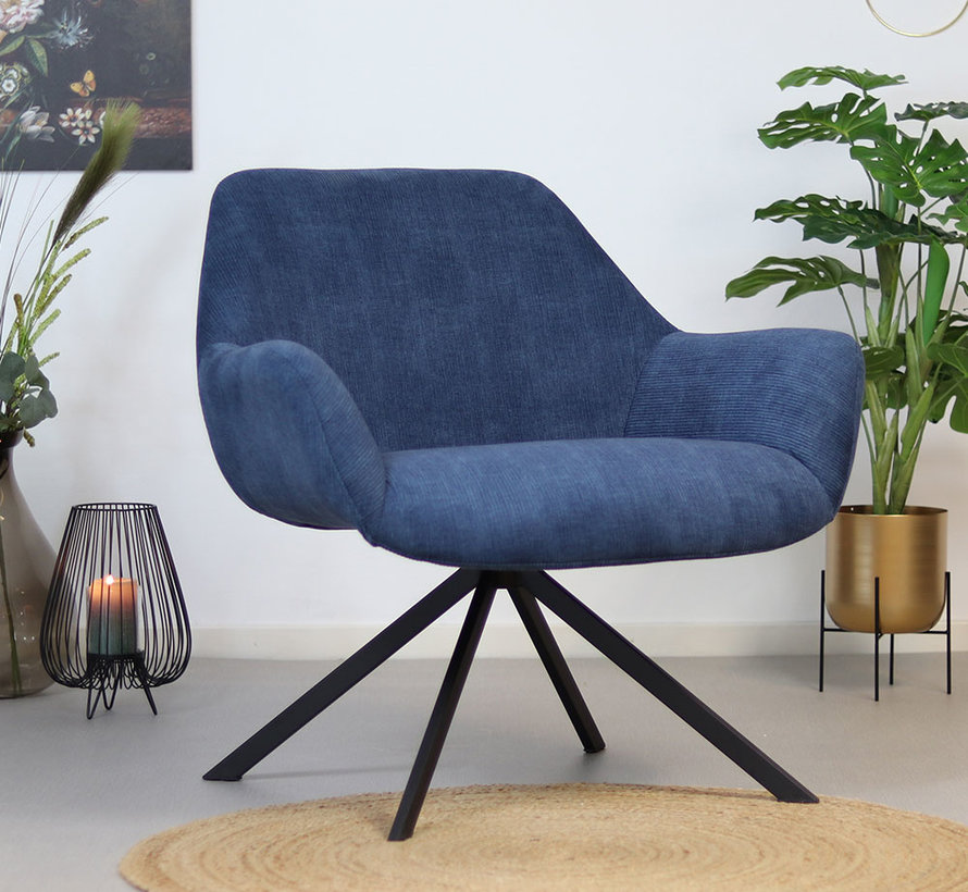 Fauteuil Emily donkerblauw ribstof