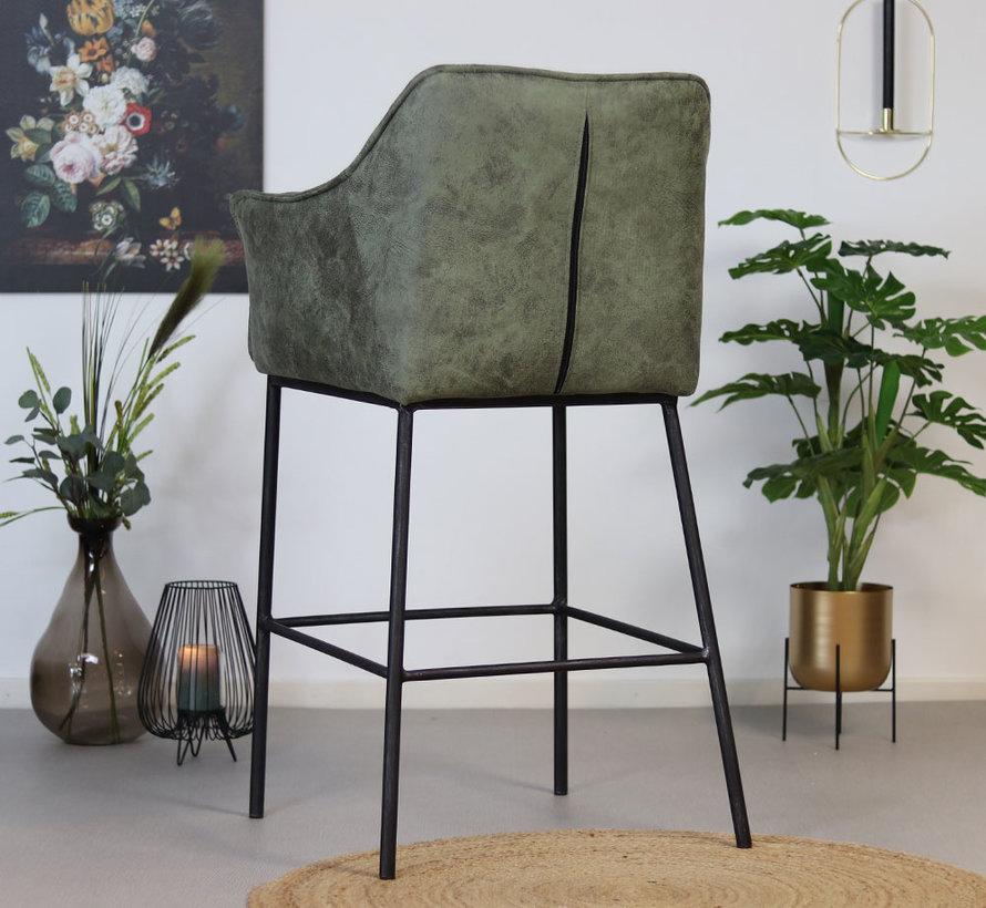 Horeca barstoel Aaron - Leatherlook olijfgroen 82 cm