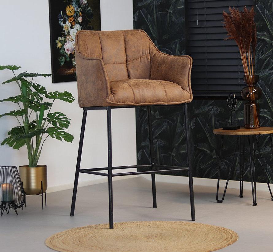 Horeca barstoel Aaron microvezel - Leatherlook cognac 82 cm