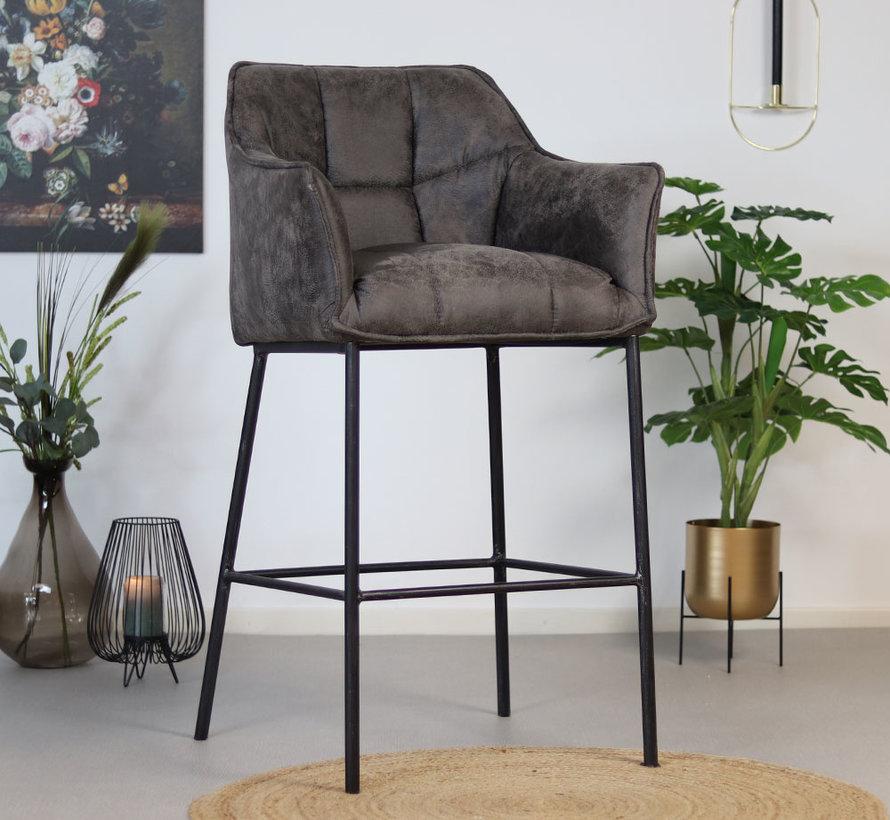Horeca barstoel Aaron - Leatherlook antraciet 82 cm
