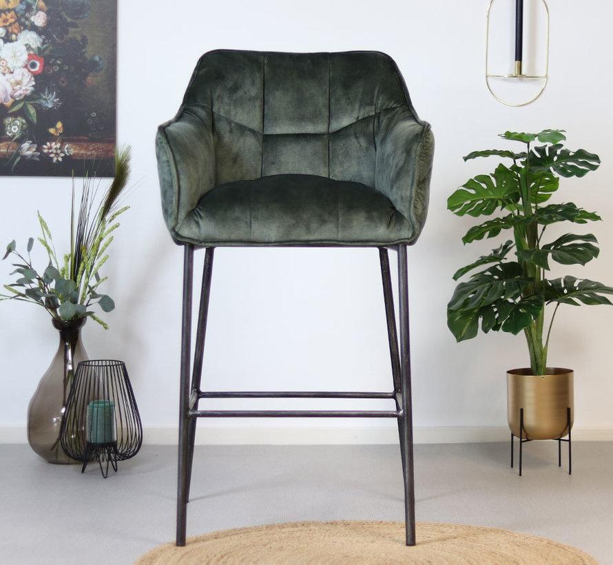 Horeca barkruk Jayron groen velvet 82 cm