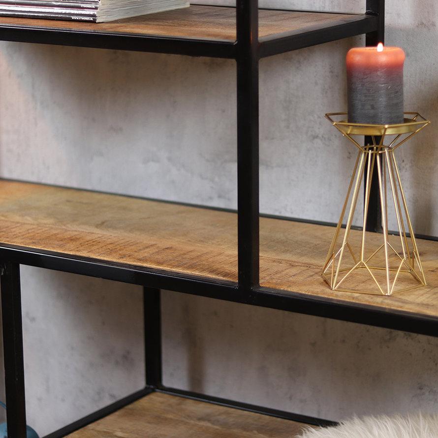 Industriële boekenkast Mats mangohout 120 x 188