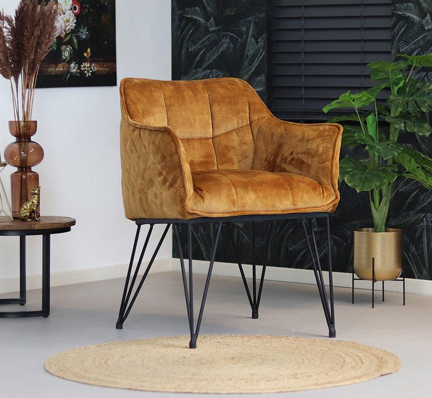 Horeca stoel Jayron okergeel/cognac bruin velvet
