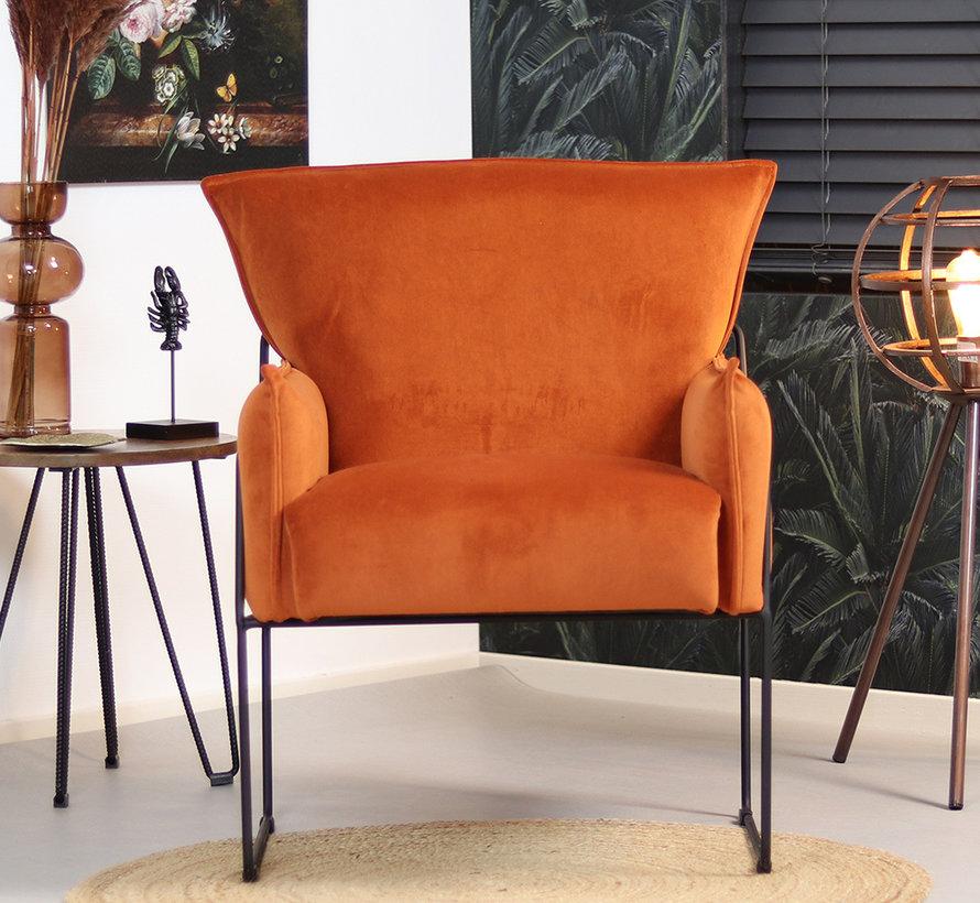 Horeca Velvet fauteuil Lasse koper