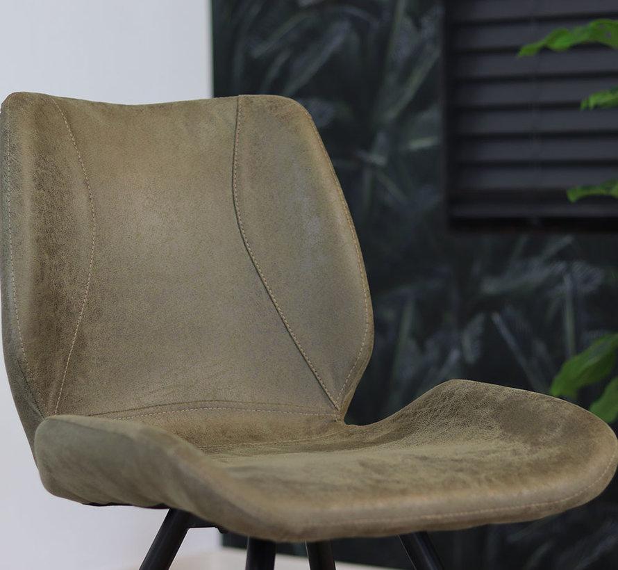 Horeca stoel Barrel olijfgroen eco-leer