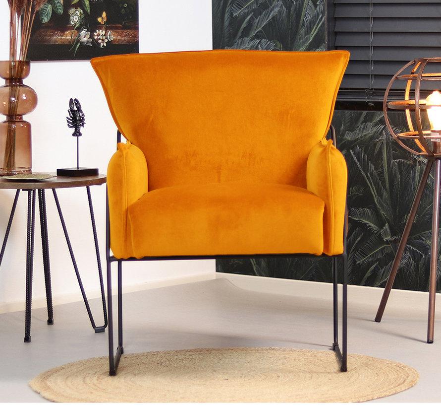 Horeca Velvet fauteuil okergeel