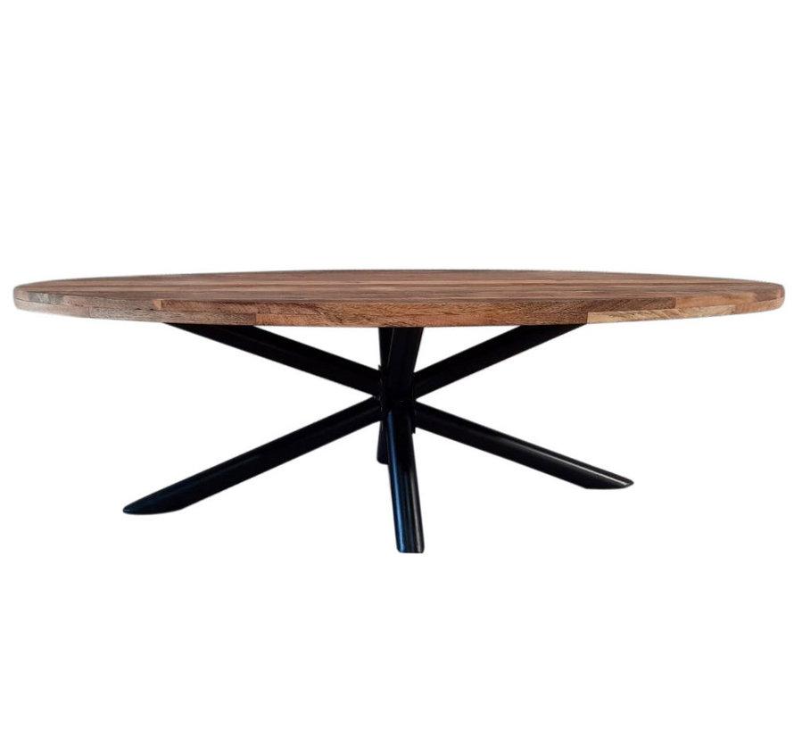 Horeca tafel ovaal mangohout Bing 280 x 110 cm