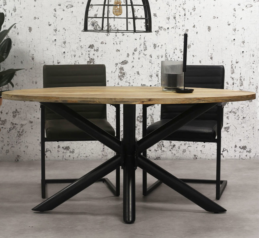Horeca tafel ovaal mangohout Bing 200 x 110 cm