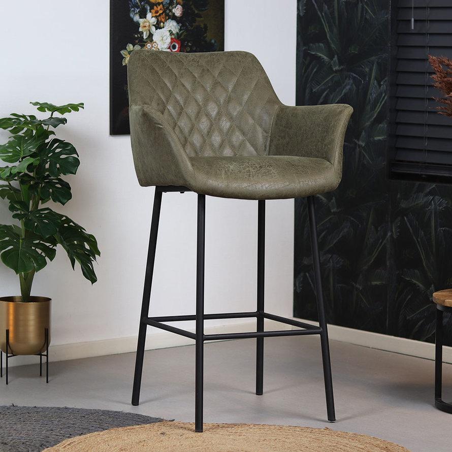 Horeca Barstoel Club olijfgroen eco-leer 78 cm