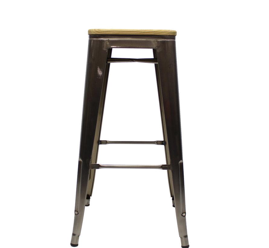 Stapelbare Horeca Retro café barkruk hout metaal 76 cm