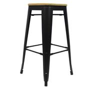 Retro café barkruk hout zwart 76 cm