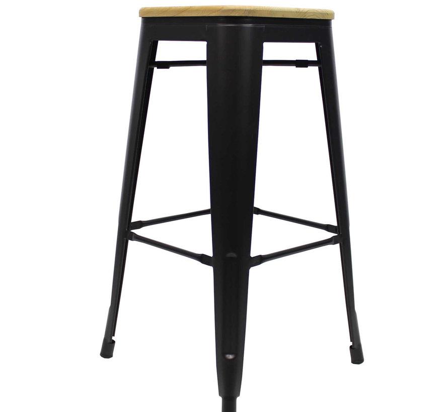 Stapelbare Horeca Retro café barkruk hout zwart 76 cm