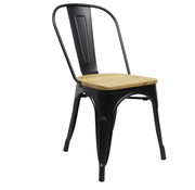 Retro café stoel hout zwart