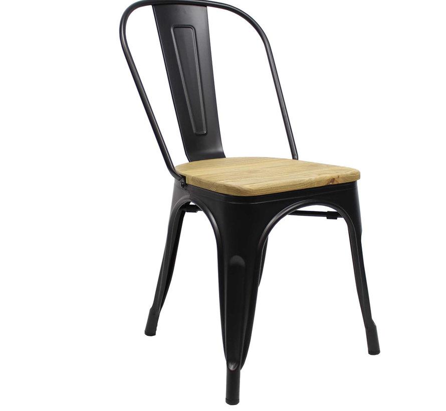 Stapelbare Horeca Retro café stoel zwart hout