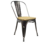 Retro café stoel metaal hout