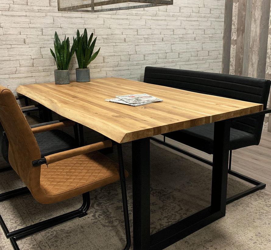 Massief eiken tafel Siem 180 x 90cm boomstam U-Poot
