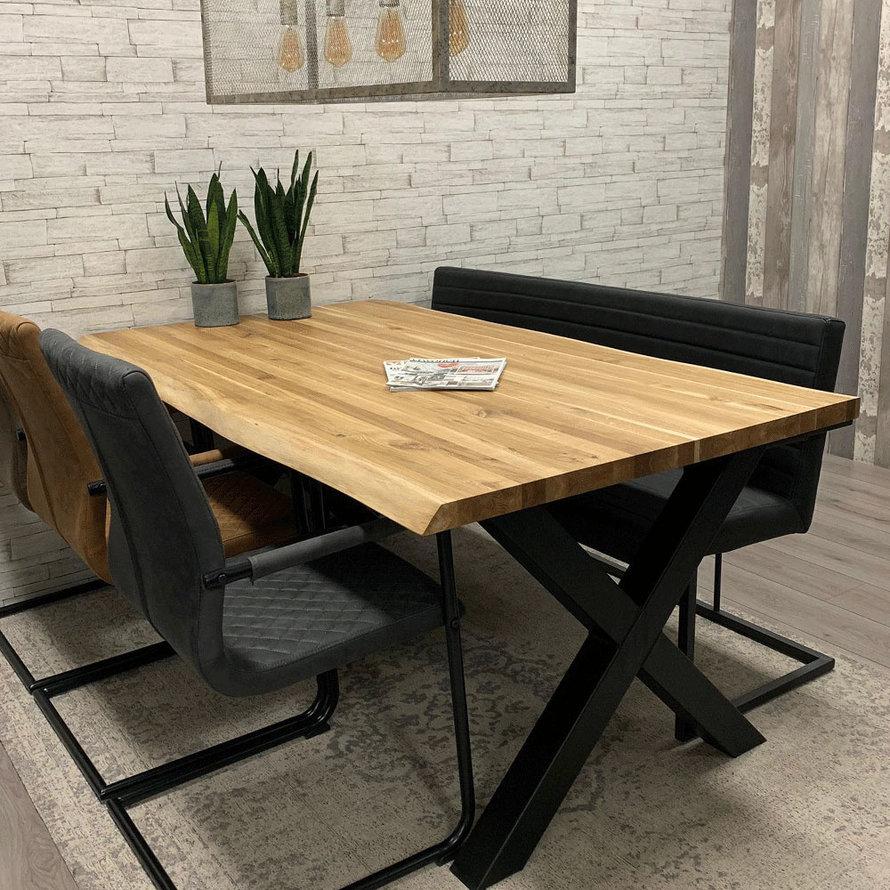 Massief eiken tafel Siem 240 x 100cm X-Poot