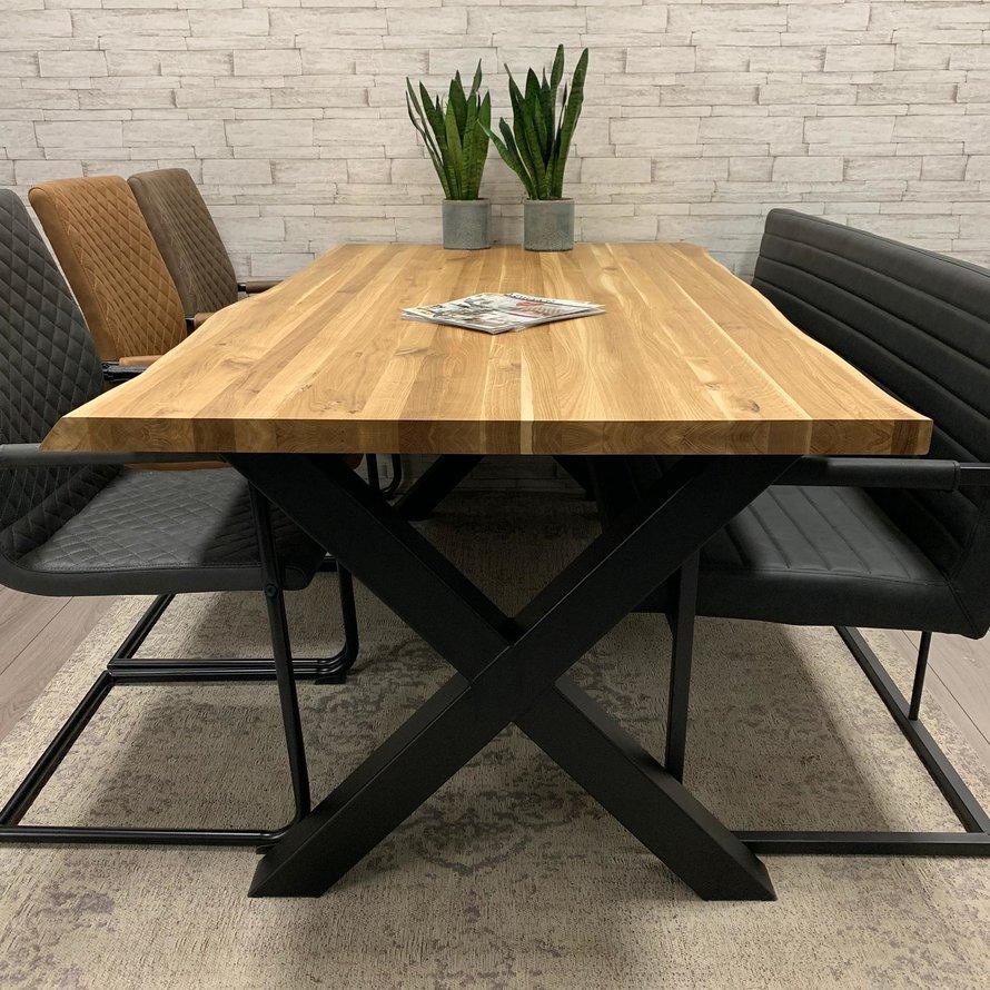Massief eiken tafel Siem 140 x 80cm boomstam X-Poot