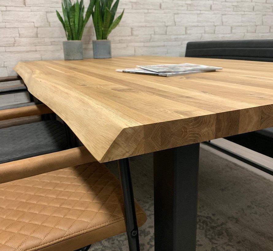 Massief eiken tafel 4cm Siem 140 x 80cm boomstam U-Poot