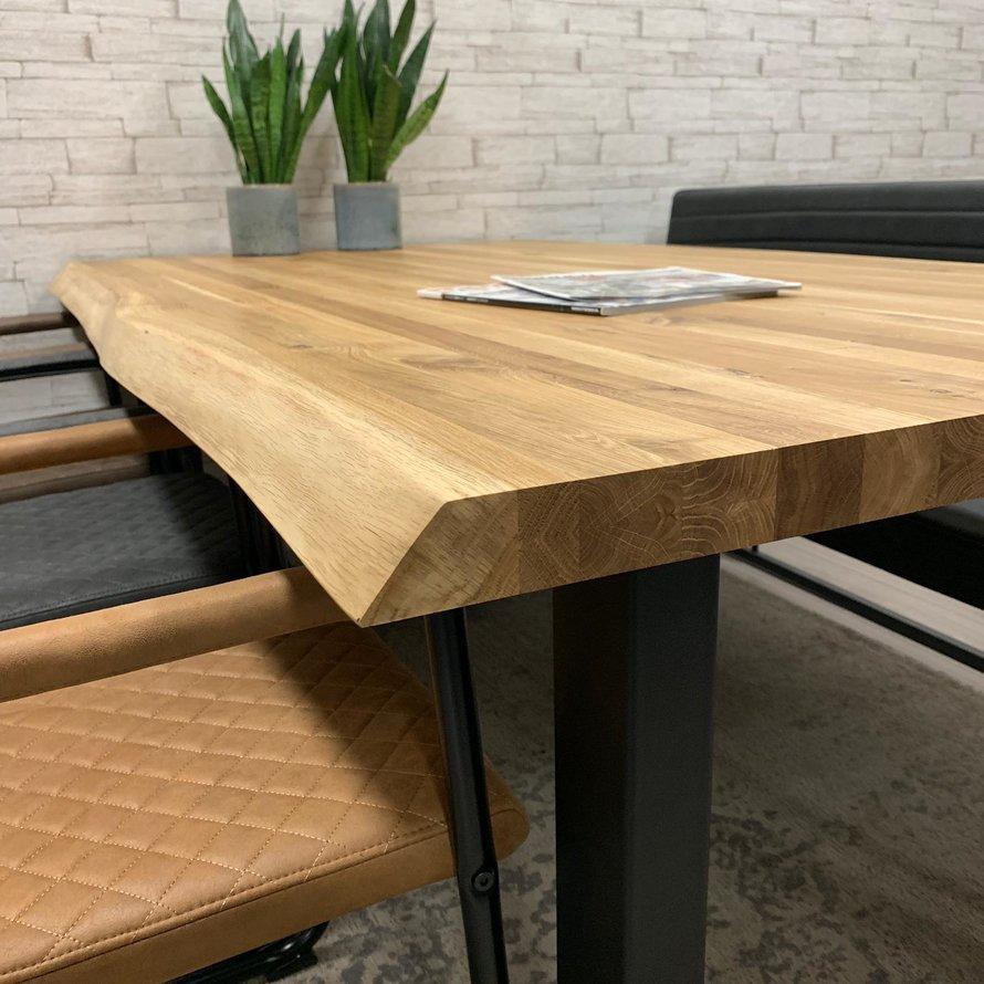 Massief eiken tafel Siem 140 x 80cm boomstam U-Poot