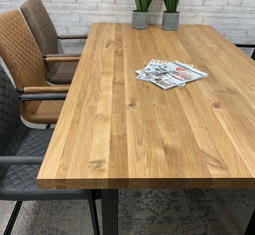 Massief eiken tafel 4cm Siem 140 x 80cm U-Poot