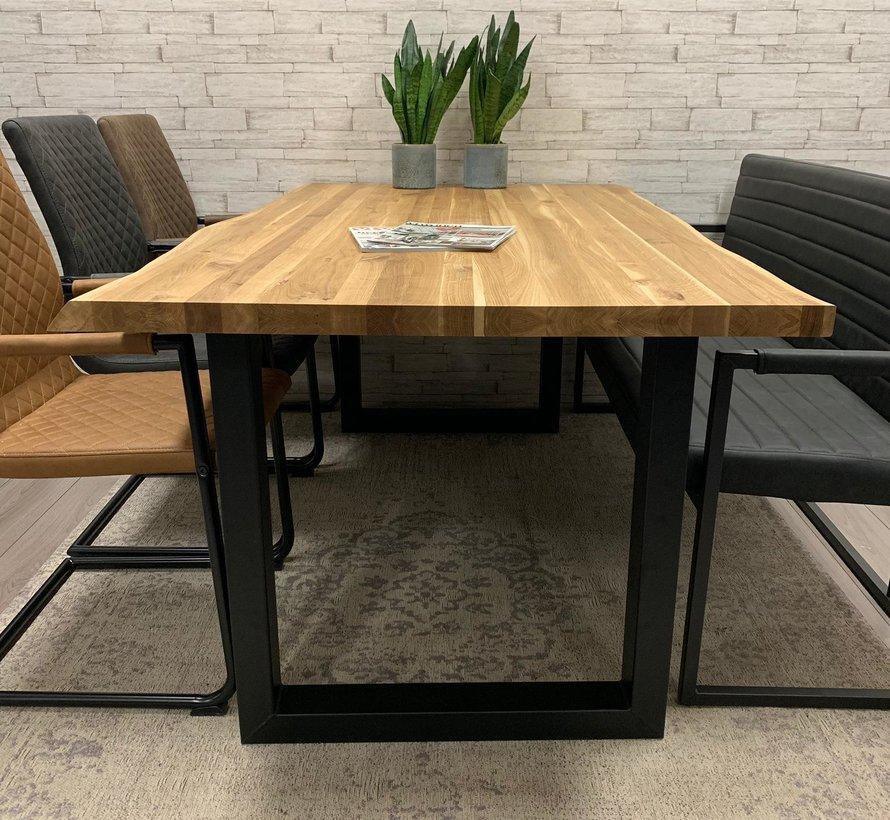 Massief eiken tafel 4cm Siem 160 x 90cm boomstam U-Poot