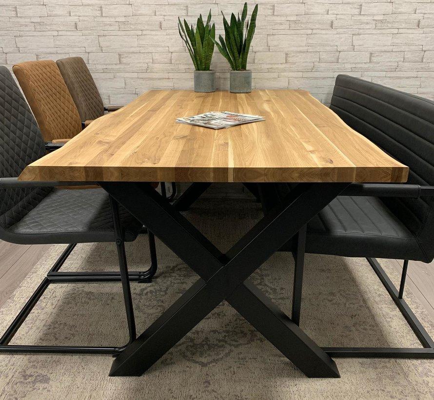 Massief eiken tafel 4cm Siem 160  x 90 cm boomstam X-Poot