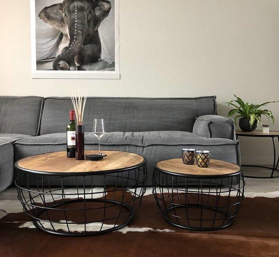 Horeca ronde salontafel mangohout Vera set van 2