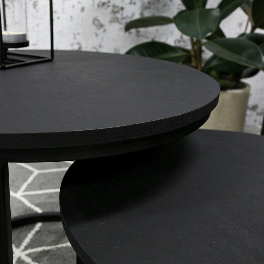 Horeca ronde salontafel Owen zwart set van 2