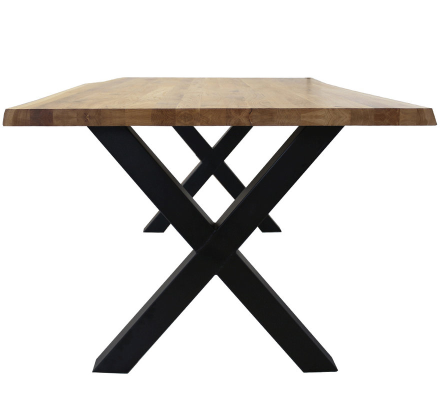 Massief eiken tafel 4cm Siem 140 x 80cm boomstam X-Poot