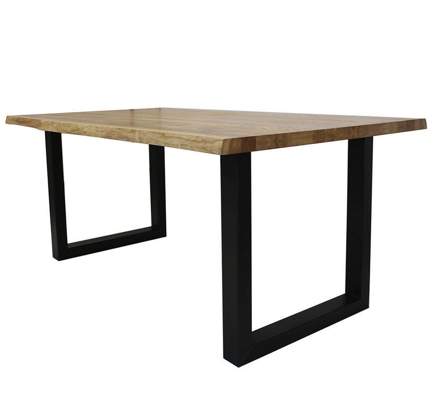Massief eiken tafel Siem 160 x 90cm boomstam U-Poot